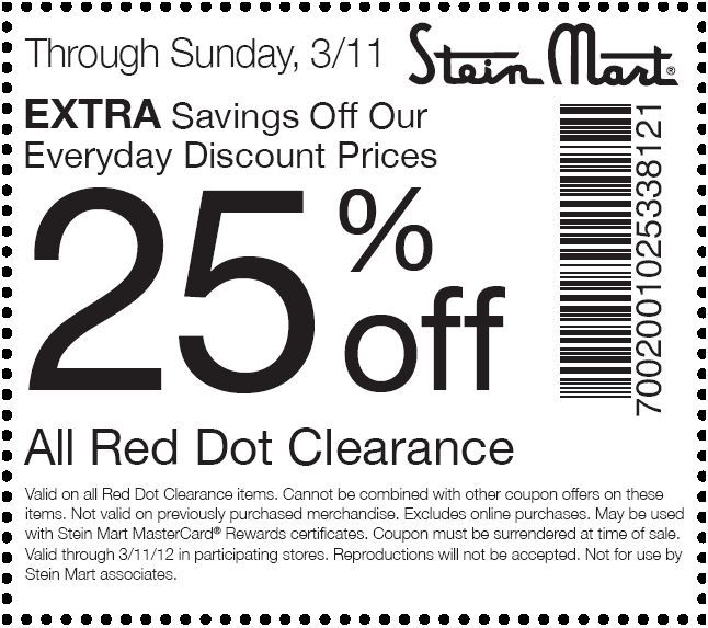 image regarding Stein Mart in Store Printable Coupons identify 25% off at Stein Mart! CheckPoints Bargains! Printable