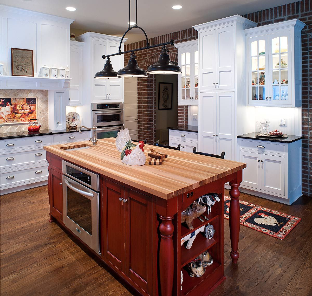 Country style kitchen with red island kitchen islands for Country kitchen island designs
