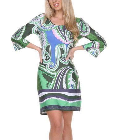 Another great find on #zulily! Green & Blue Paisley Scoop Neck Sheath Dress - Women #zulilyfinds