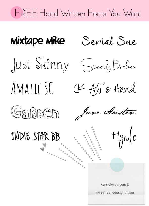 Handwritten Free Fonts