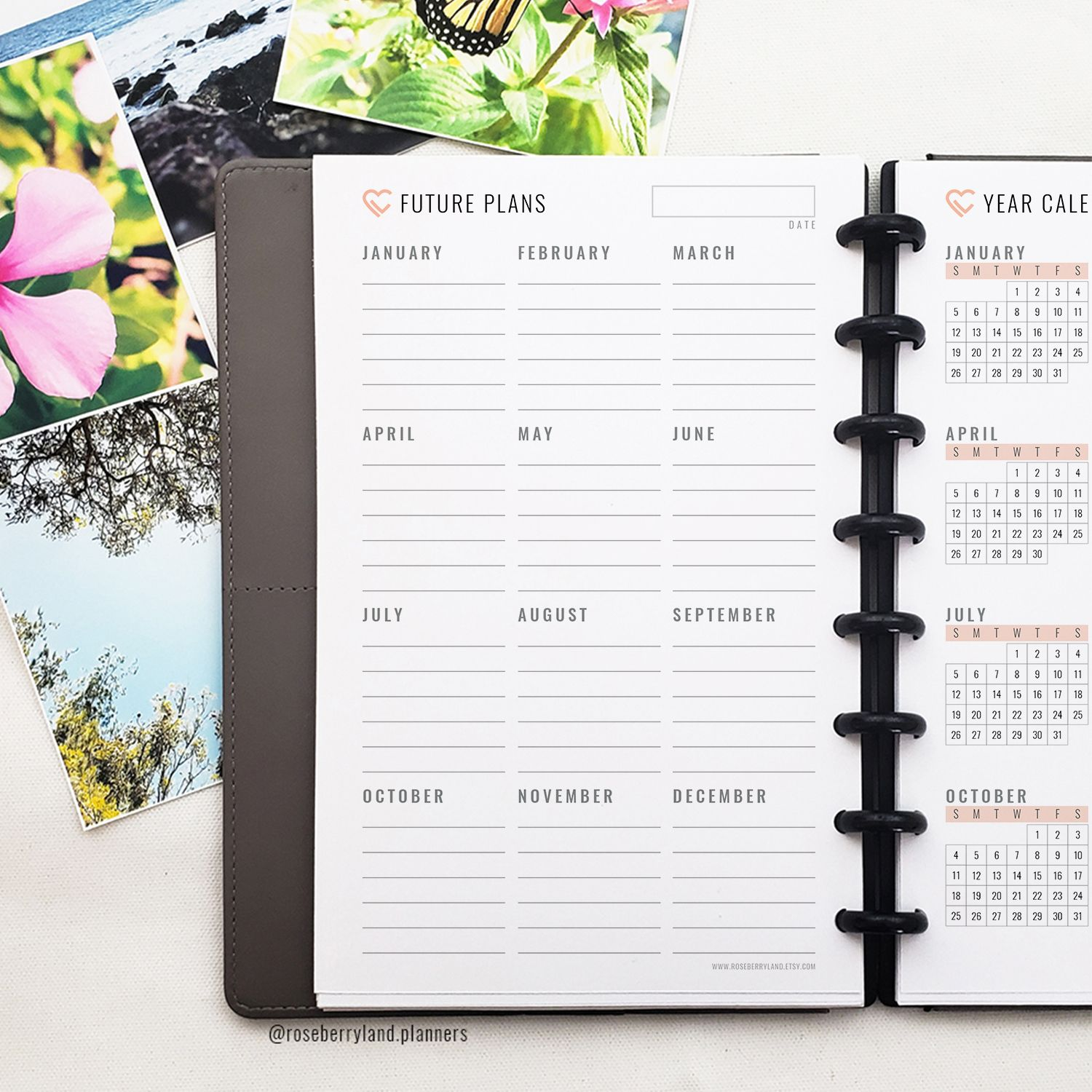 Year Calendar - Printable Planner Pages | 2020 & 2021 | 6 ...