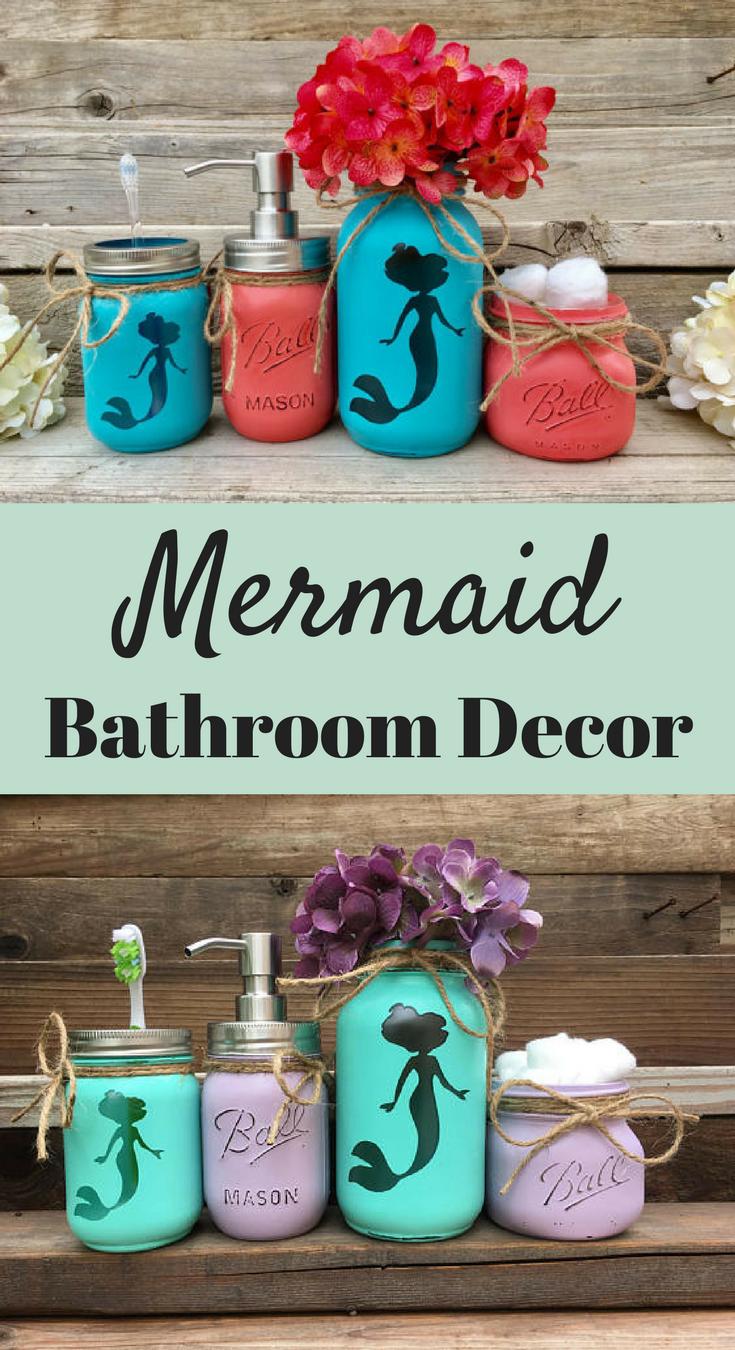 Mermaid bathroom decor mermaid decor mermaid painted mason jars mason jar bathroom set