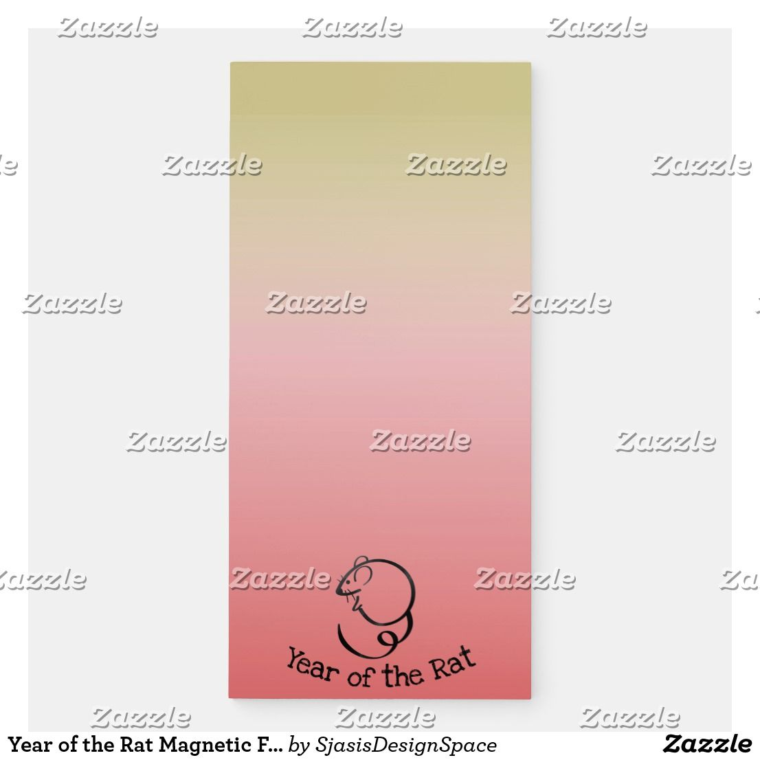 Year Of The Rat Magnetic Fridge Notepad