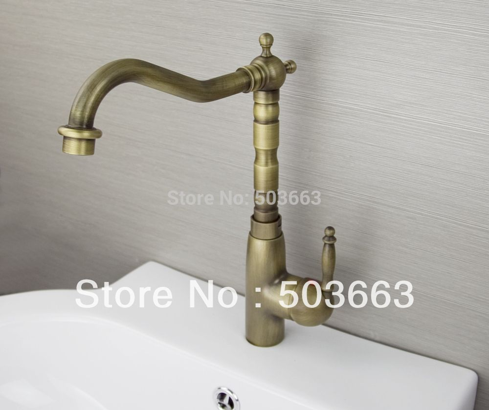Elegant Single Handle Antique brass Finish Kitchen Sink Swivel ...