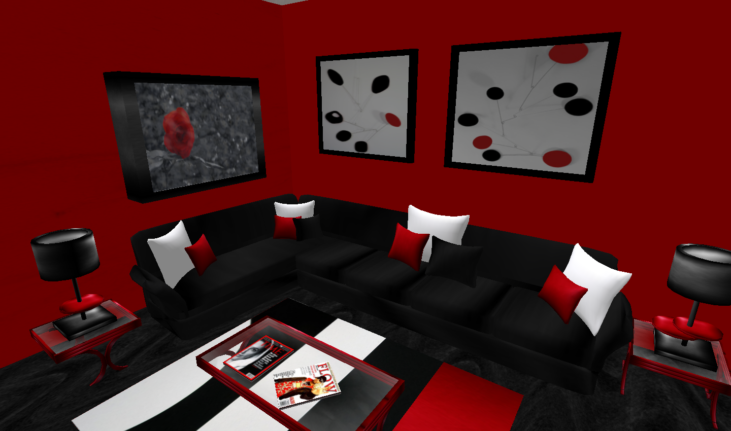 Decoration excellent red black white room modesty decorating red