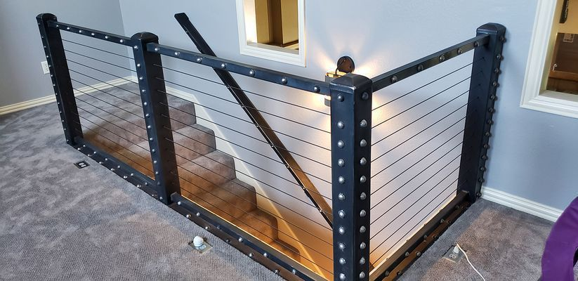This Unique Staircase Railing Was Completed Using Our Black Cable Railing Hardware Check Out More Customer In 2020 Cable Railing Deck Cable Railing Staircase Railings