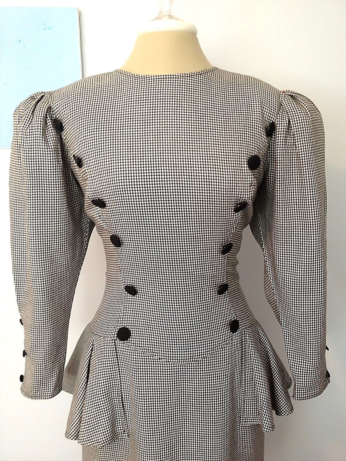 Vintage 80s Black Amp White Houndstooth Peplum By