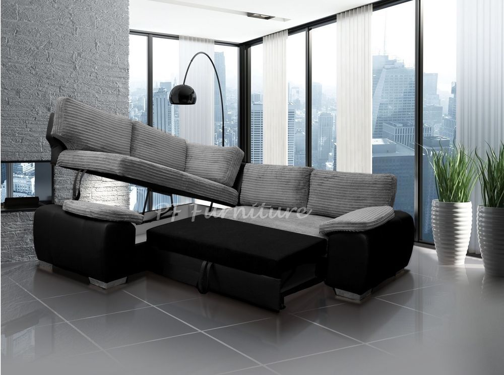 Corner Sofa Bed Enzo Jumbo Cord Fabric With Faux Leather With Storage Grey Black Ebay Corner Sofa Bed With Storage Corner Sofa Bed Sofa Store