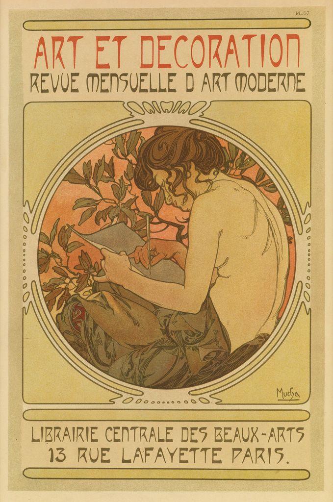 Incroyable ALPHONSE MUCHA (1860 1939) ART ET DECORATION. Documents Décoratifs Pl. 57.  1902.