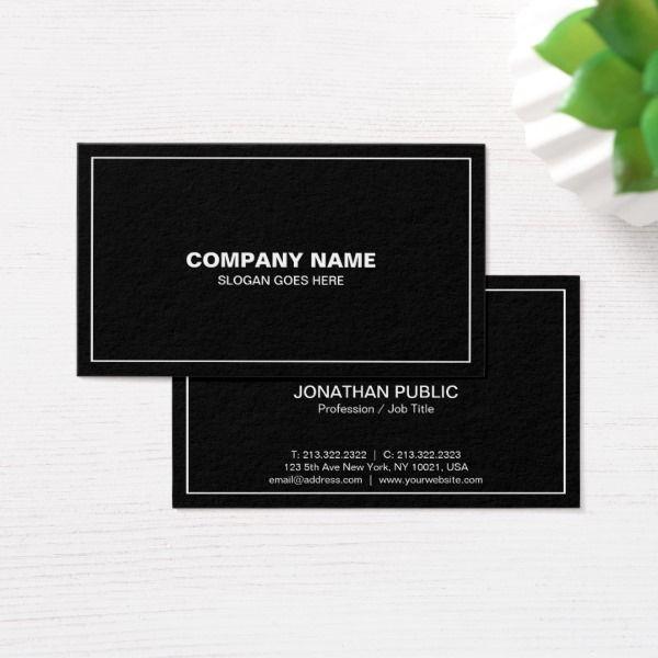 Modern professional elegant black simple plain business card reheart Gallery