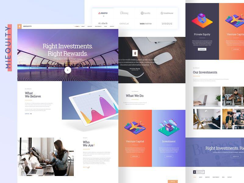Miequity Free Website PSD Template Website Templates Pinterest - Venture capital website template