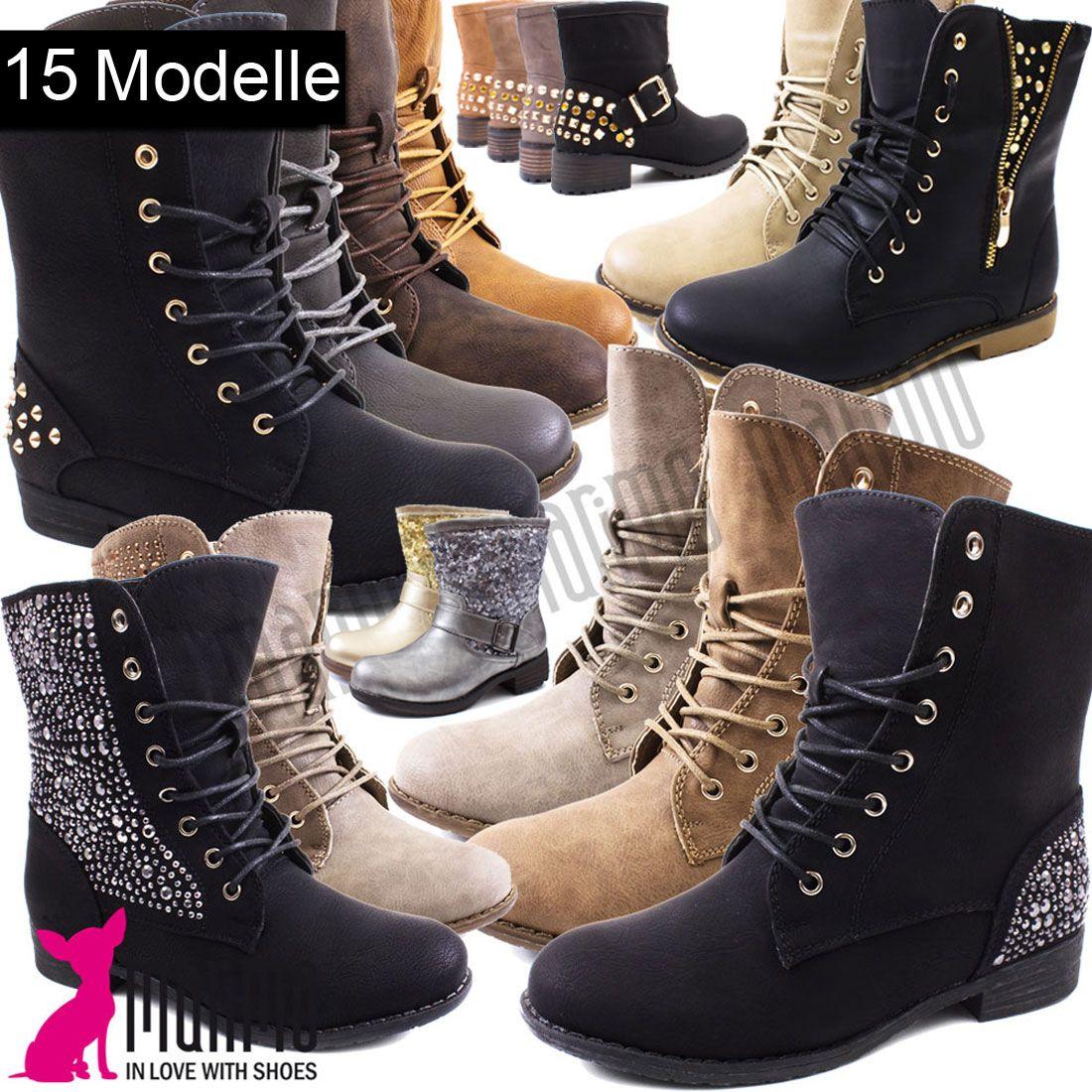 Stiefeletten Schuhe Damen Strass Nieten Schnur Boots 2259 Schwarz 38