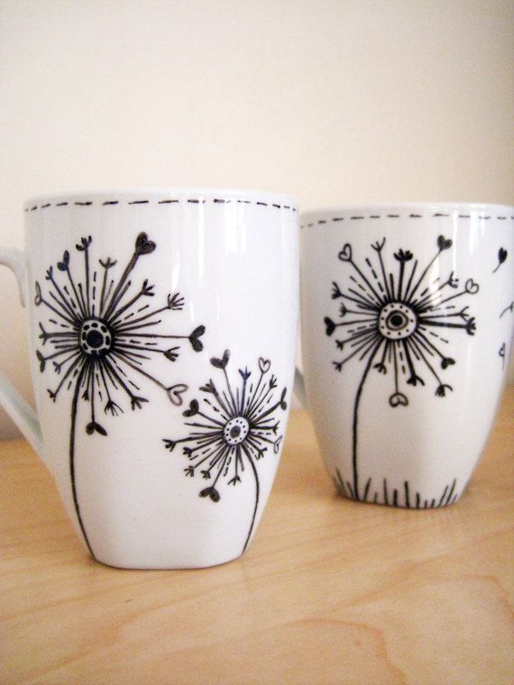 dandelions hand painted white ceramic mug deko pinterest. Black Bedroom Furniture Sets. Home Design Ideas