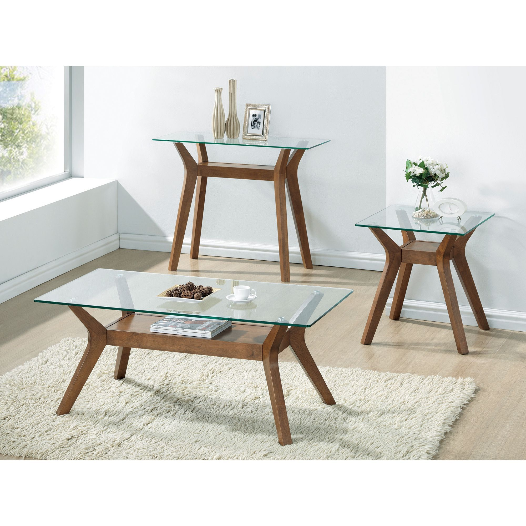 Modern glass end table  Coaster Company MidCentury Modern Brown and Glass Occasional End