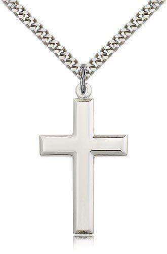 Sterling Silver Solid Cut-out Polished back Dog Tag Charm Cross Charm