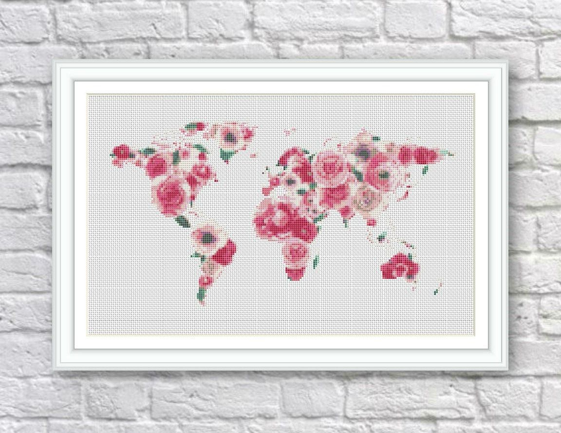 Bogo free floral world map cross stitch pattern world map floral world map cross stitch pattern world map silhouette flowers counted cross stitch chart modern decor pdf download s106 gumiabroncs Images