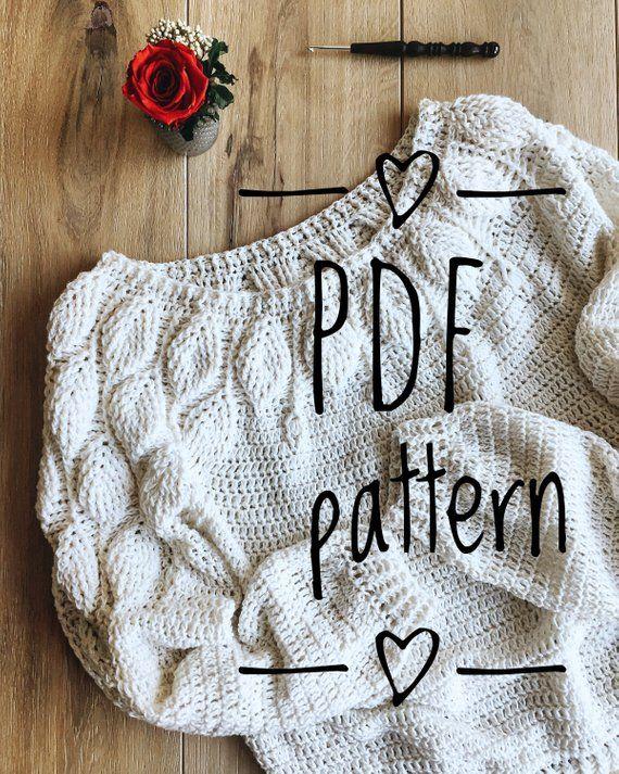 PDF pattern Crochet Sweater LEAVES