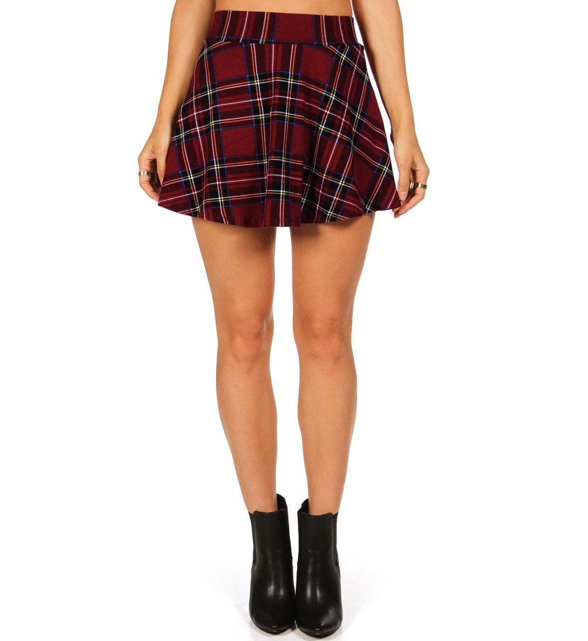Red Mad For Plaid Skater Skirt
