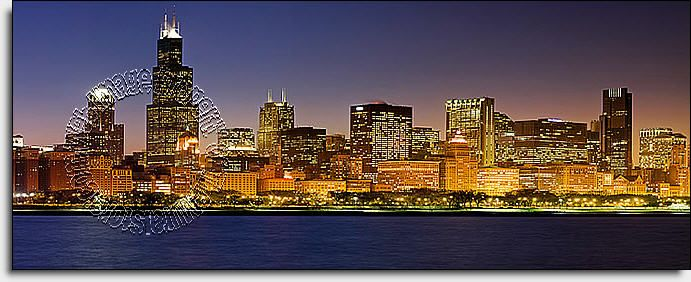 Chicago Skyline Onepiece Peel & Stick Canvas Wall Mural