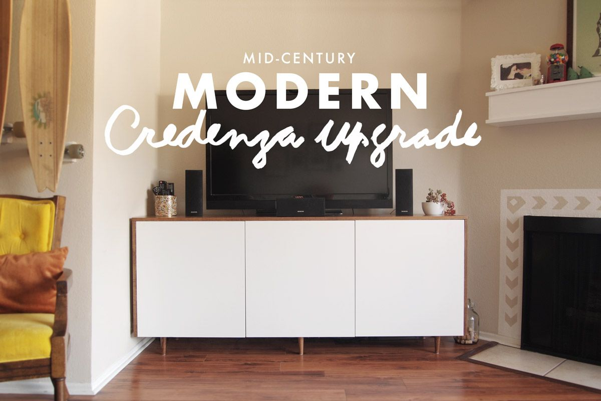 Modern Credenza Ikea : Ikea upgrade besta cabinets plus wood veneer makes a diy mid