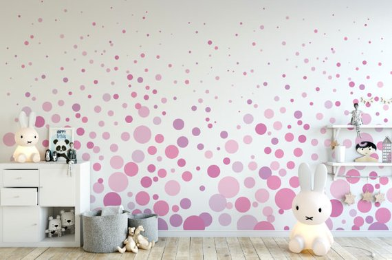 Pink Bubbles Cascading Wallpaper Removable Wallpaper Etsy Removable Wallpaper Peel And Stick Wallpaper Bubble Wall