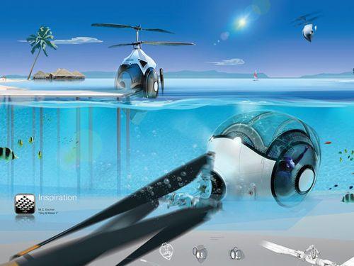 Ce concept de véhicule avant-gardiste jongle entre ciel et mer