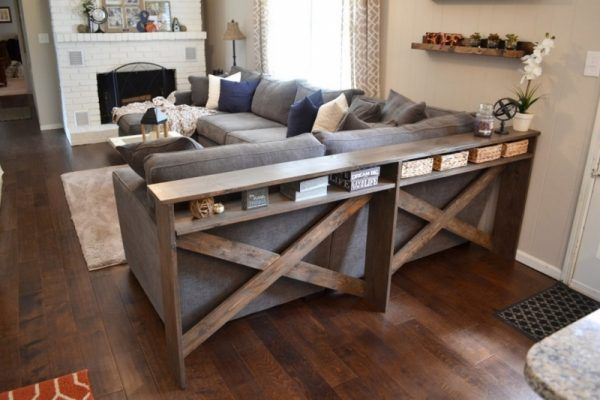 Diy Sofa Table Is Great For Added Storage Sofa Table Decor Farmhouse Sofa Table Long Sofa Table