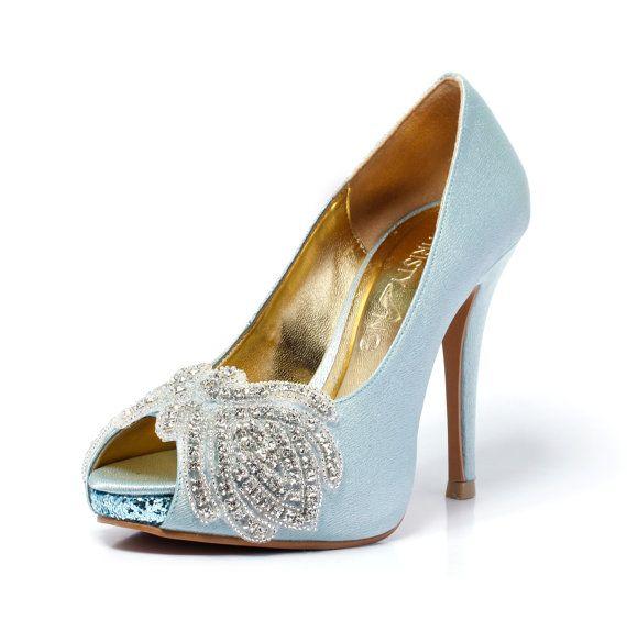 Carmen Tiffany Blue P Toe Wedding Heel With Swarovski Elements Bridal Something Satin Shoes