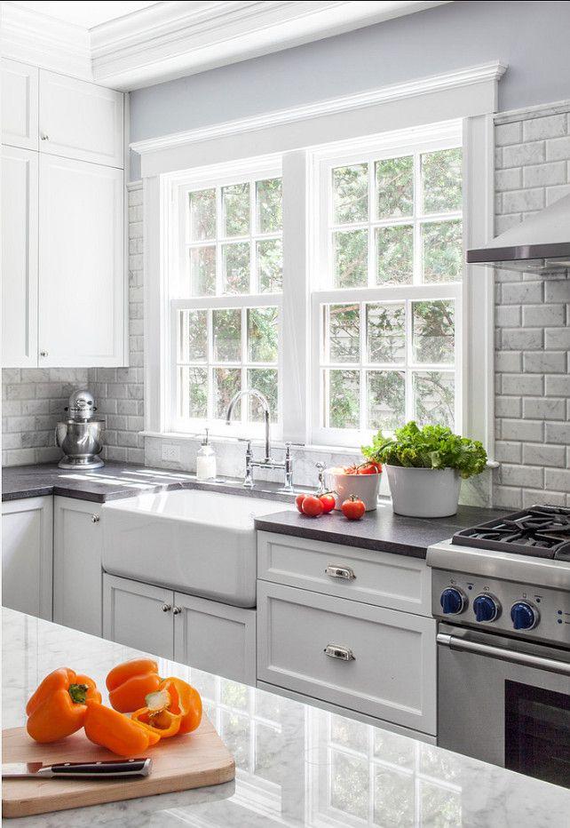 Kitchen Ideas. Marble Beveled Subway Tiles. Kitchen Countertop Ideas ...