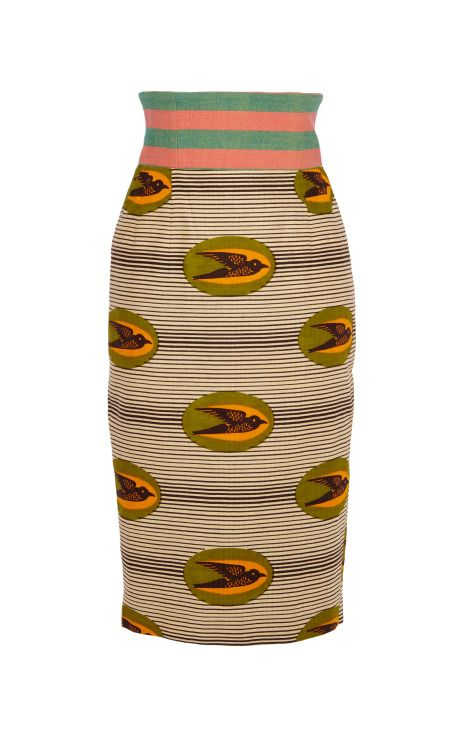 Shop Lattuga Printed Wax Cotton Skirt With Contrast Waistband by Stella Jean for Preorder on Moda Operandi