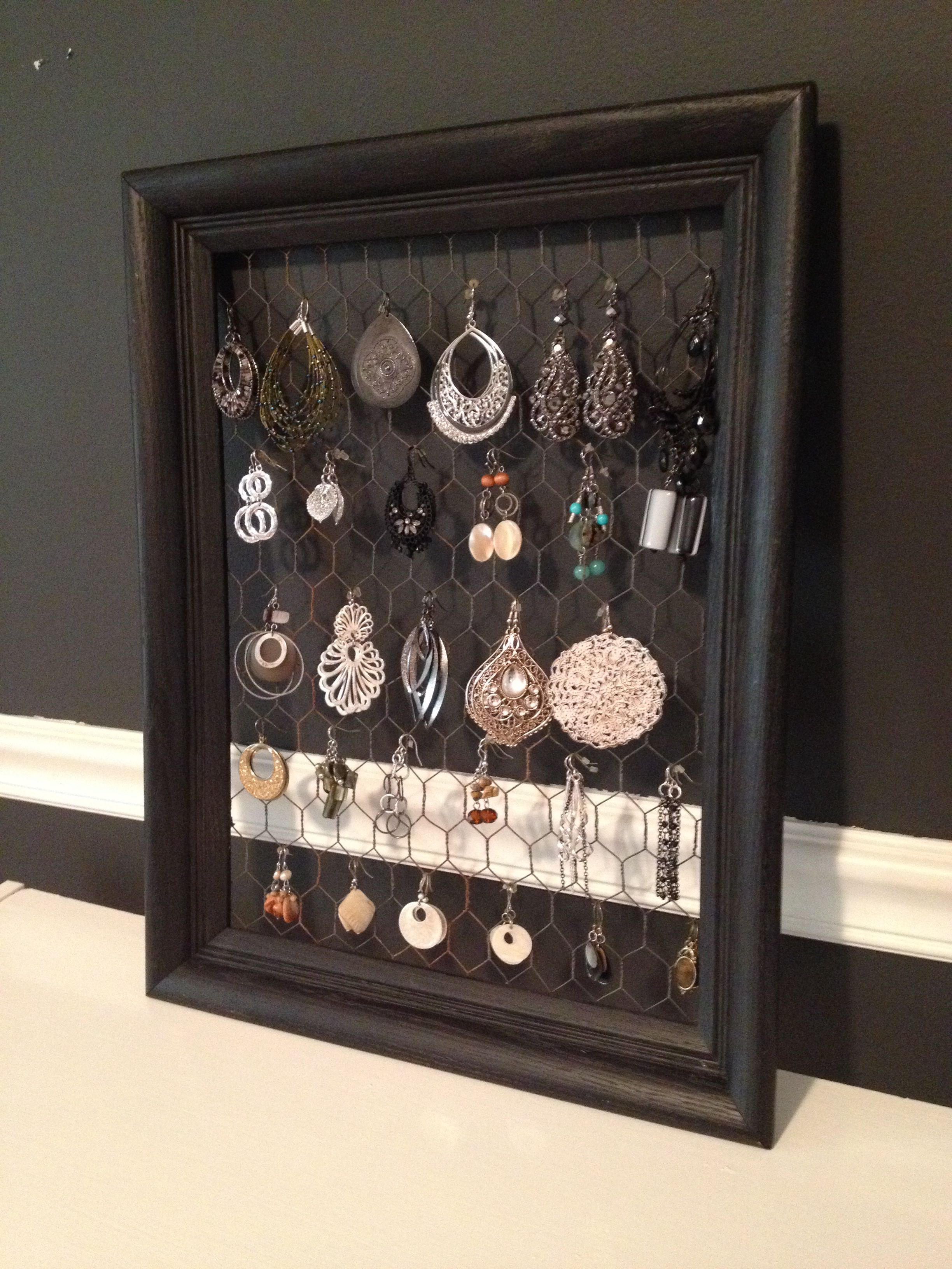 Earring Display With Chicken Wire & Empty Frame