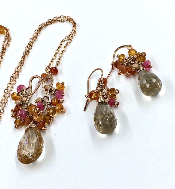 MOTHERS DAY SALE Rose Gold Necklace Earrings Set Rutilated Quartz