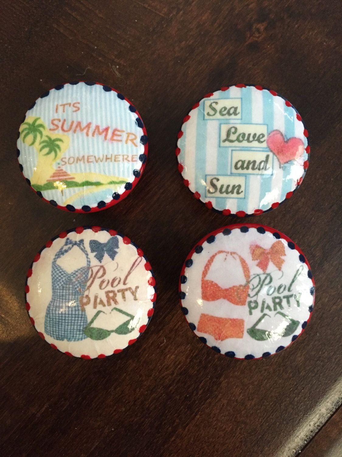 1.5 Inch Beach Pool Party Summer Fun Cabinet Knobs Drawer Pulls Red Navy  Swimsuits By HolyChicBoutiqueCo