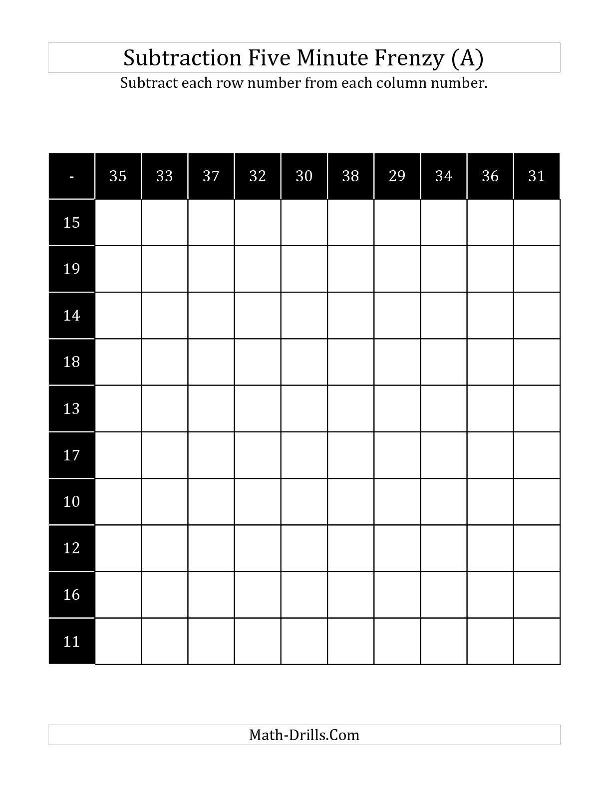 The Five Minute Subtraction Frenzy With Minuends Up To 38 A Math Worksheet From The