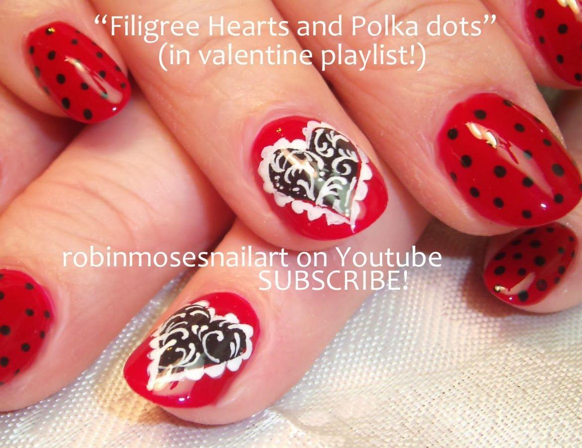 FILIGREE+HEARTS+AND+POLKA+DOTS.jpg (1171×900) | Nail Art | Pinterest