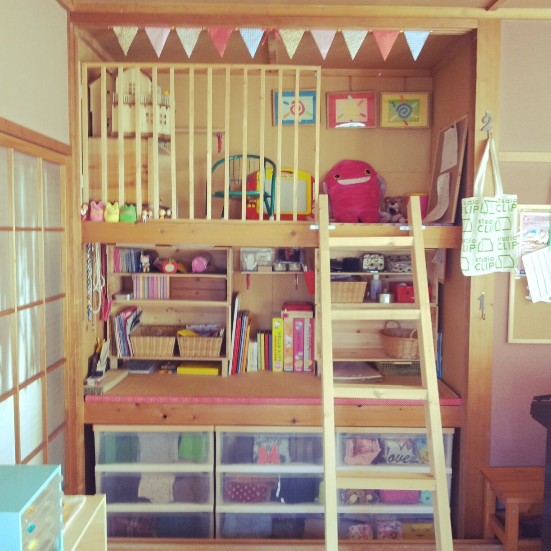 部屋全体 Diy 雑貨 収納 押入れ子供部屋 などのインテリア実例