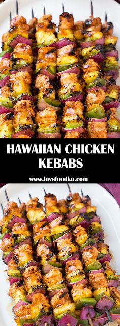 HAWAIIAN CHICKEN KEBABS - #recipes #hawaiianfoodrecipes