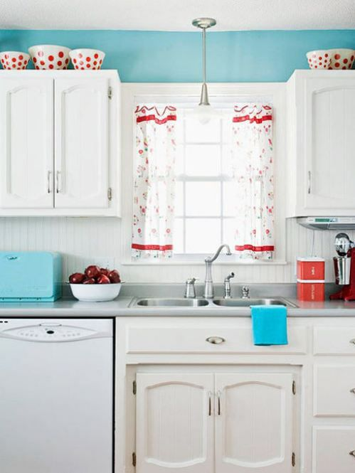 Retro Kitchen In Red White And Robin Egg S Blue Low Cost