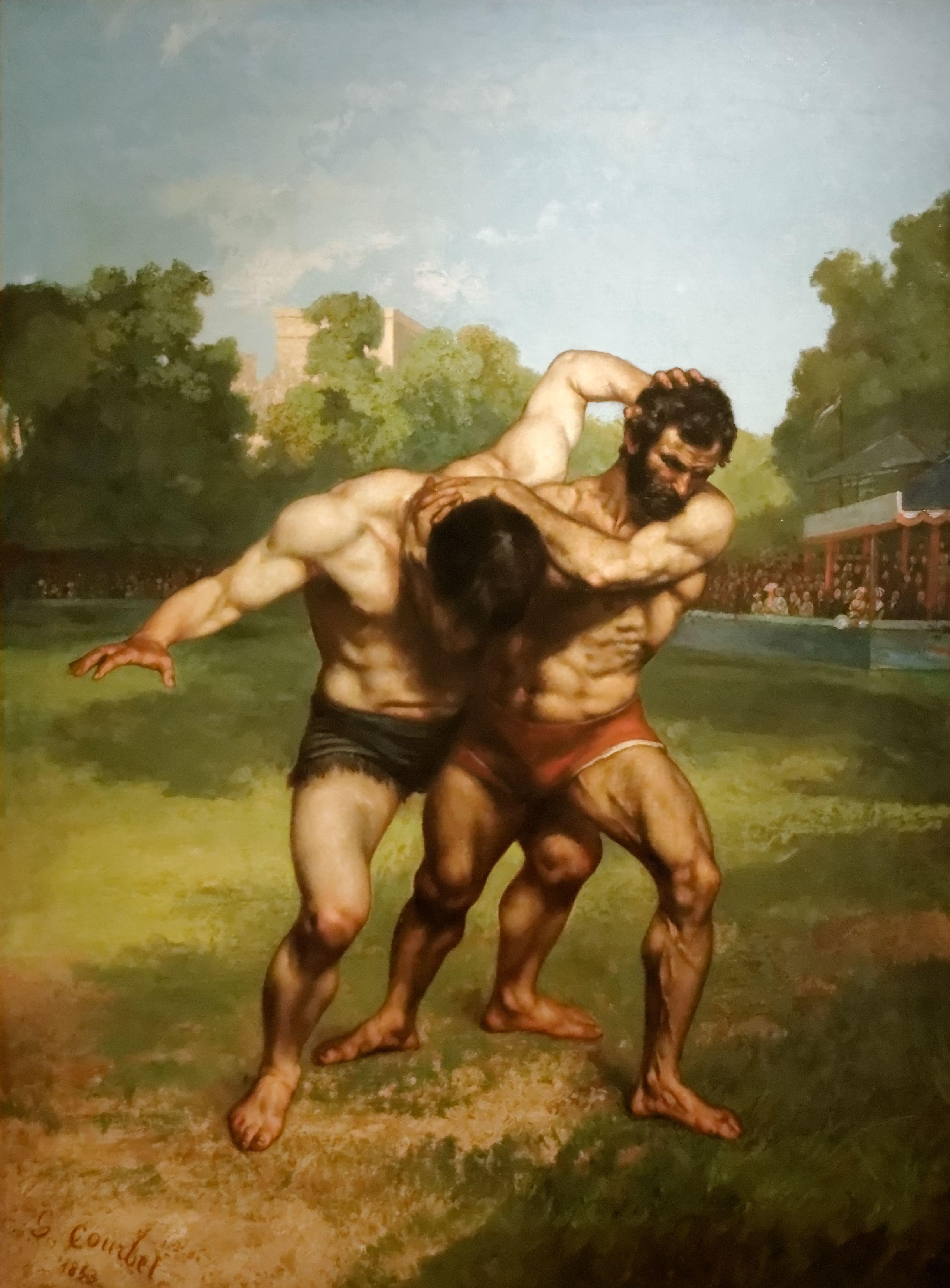 Gustave Courbet Les Lutteurs Kunstgeschichte Öl Auf Leinwand Gemälde