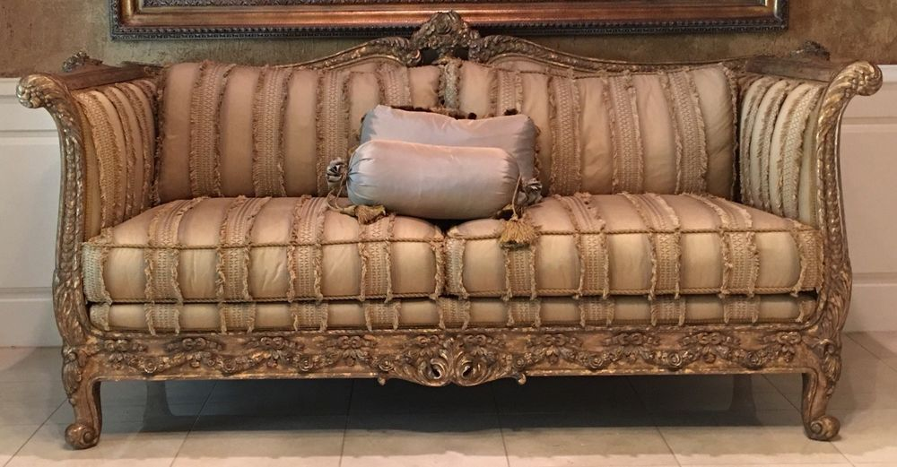 Tomlinson Erwin Lambeth Designer Sofa Rose Carved Wood High End Upholstery Erwinlambeth Transitional