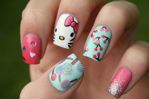 Hello Kitty on Flickr.  I wanted to do Hello Kitty nails. I don't even like Hello Kitty, but I love these nails! www.coewlesspolish.wordpress.com
