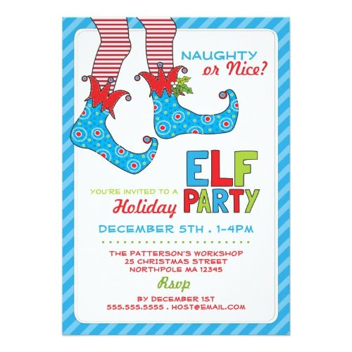 Naughty Or Nice Magic Elf Holiday Party Invitation Christmas Cards