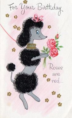 Pin by jackie banta on vintage pictures pinterest poodle vintage birthday card with poodle bookmarktalkfo Gallery
