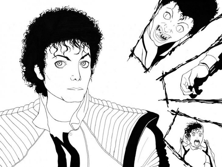 Michael Jackson Wearing The Red Jacket From Thriller Video Coloring Page Letscolorit Com