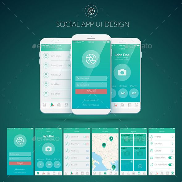 Mobile Application UI Design - Web Elements Vectors | Projects to ...