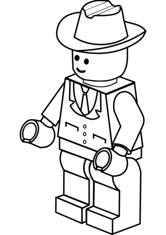 Lego Man in Cowboy Hat Coloring page | LEGO & + | Pinterest