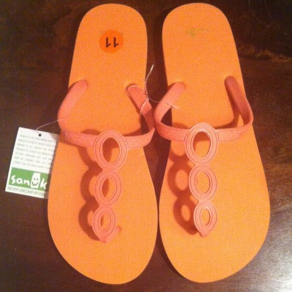 """Sanuk Melon Flip Flops Authentic """"Never Uncomfortable"""" Sanuk Flip Flops. Color: Melon. Synthetic Upper. Rubber Sponge Outsole. Brand New. Excellent Condition. No Trades. Sanuk Shoes Sandals"""
