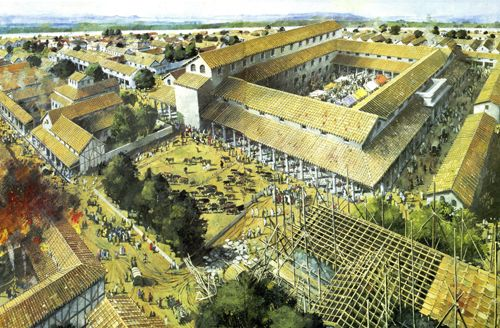 reconstruction of silchester showing forum and basilica back centre cattle market and houses. Black Bedroom Furniture Sets. Home Design Ideas
