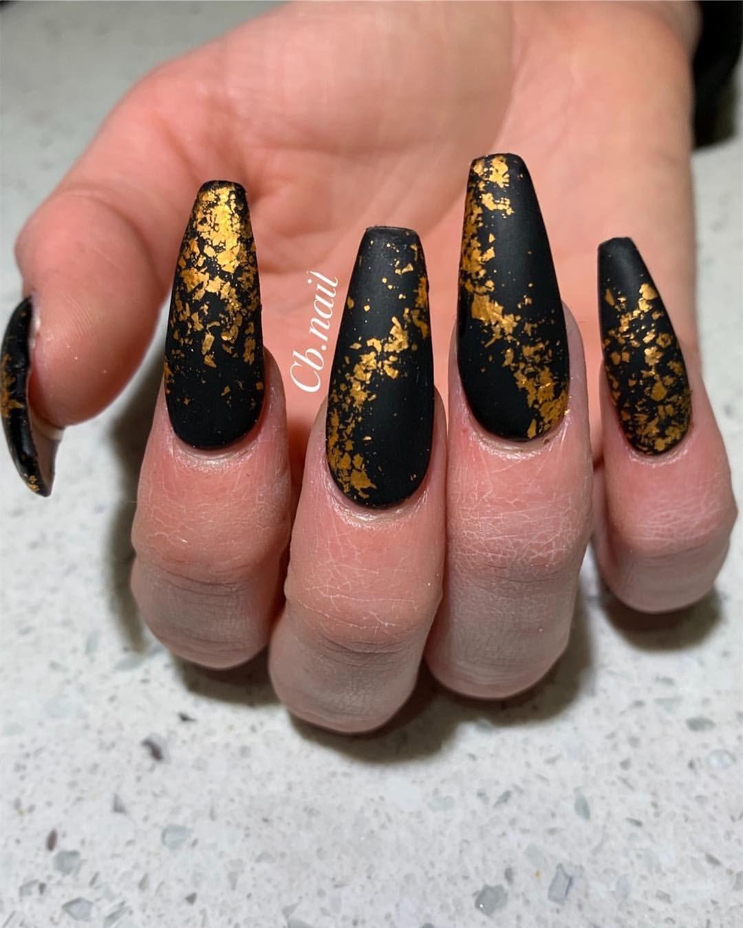 Long Nails Acrylic Nails Black Nails Gold Nails Matte Nails Coffin Nails Nail Art Nail Design G Black Gold Nails Black Acrylic Nails Gold Acrylic Nails