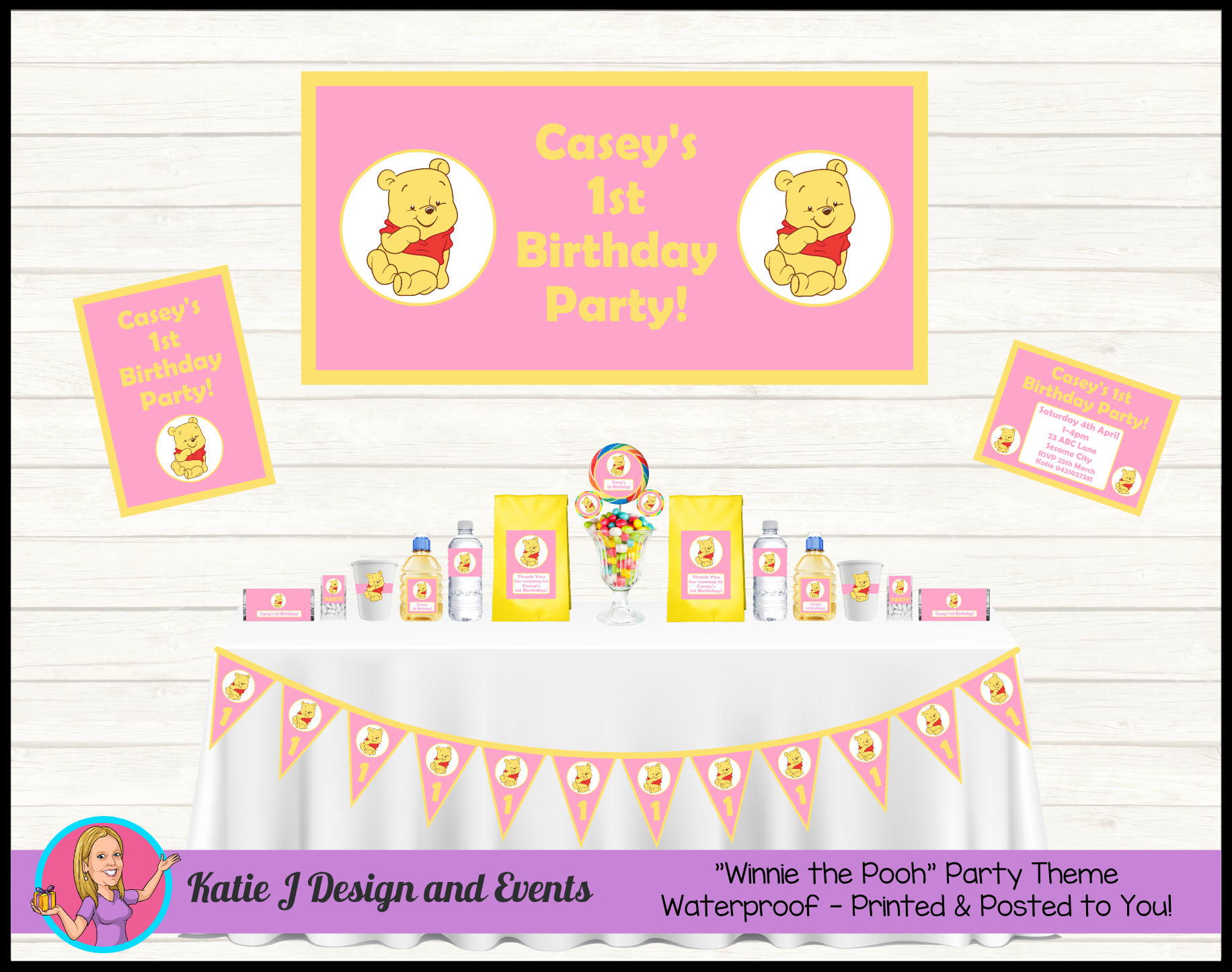 Girls Winnie The Pooh Personalised Birthday Party Decorations Supplies Packs Shop Online Australia Banners Bunting Wall